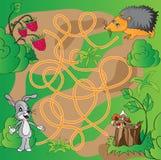 Het raadsel van kinderen - labyrint Stock Afbeeldingen