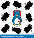 Het raadsel van kinderen - pas de schaduw aan de pinguïn aan Stock Foto