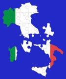Het raadselkaart van Italië Stock Fotografie