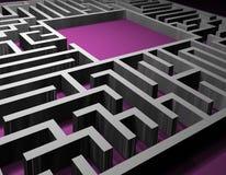 Het raadseloplossing van het labyrint Stock Foto