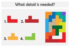 Het raadselspel met kleurrijke details voor kinderen, kiest nodig detail, gemakkelijk niveau, onderwijsspel voor jonge geitjes, p vector illustratie