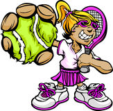 Het Racket en de Bal van de Holding van het Meisje van de Speler van het Tennis van het jonge geitje Stock Afbeeldingen