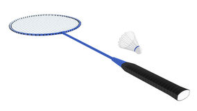 Het racket van het badminton met shuttle Stock Foto's