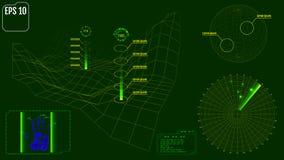 Het radarscherm met planeet, kaart, doelstellingen en futuristische gebruiker inter stock illustratie