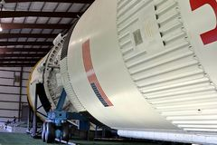 Het raketpark in Lyndon B Johnson Space Center in Houston, Texas stock afbeeldingen