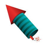 het raketvuurwerk steekt lichte pyrotechniek in brand Royalty-vrije Stock Foto