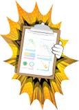 Het rapport van de holdingsfinanciën van de beeldverhaalhand vector illustratie