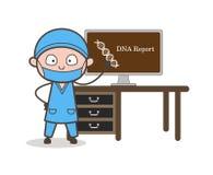 Het Rapport Vectorconcept van DNA van Presenting van de beeldverhaalchirurg stock illustratie