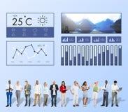 Het Rapportklimaat van het Weersomstandighedennieuws het Voorspellen Meteorologie Te Royalty-vrije Stock Afbeeldingen