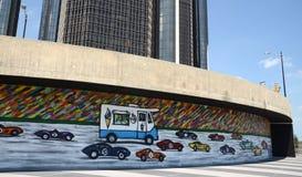 Het Ras Detroit van DA! de muurschildering van 2014 in Detroit, MI Royalty-vrije Stock Afbeelding
