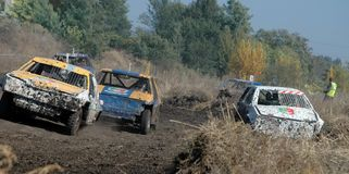 Het ras van de auto voor overleving Stock Foto's