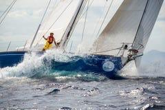 Het ras van de het zeilboot van Maxi Yacht Rolex Cup 2015 in Porto Cervo, Italië royalty-vrije stock foto