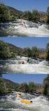 Het ras van de stroomversnellingkajak Stock Foto