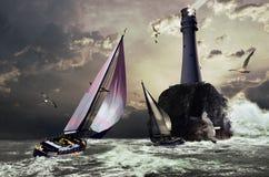Het ras van de zeilboot vector illustratie