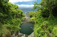 Het Ravijn van Oheo, Maui Stock Foto's