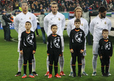 Het Real Madridteam vóór UEFA verdedigt Liga Stock Fotografie