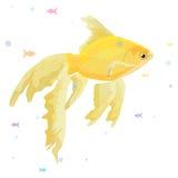 Het realistische aquarium met gouden vissen op een houten plankenaffiche en de titel maken tot een wens vectorillustratie royalty-vrije stock afbeeldingen