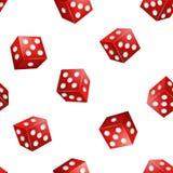 Het realistische 3d Rode Casino dobbelt Naadloze Patroonachtergrond Vector Stock Illustratie