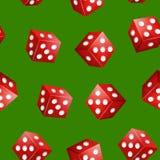 Het realistische 3d Rode Casino dobbelt Naadloze Patroonachtergrond Vector Royalty-vrije Illustratie