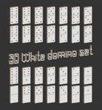 Het realistische Domino'shoogtepunt plaatste 28 3D vlakke stukken voor spel Witte inzameling Abstract concepten grafisch element, Stock Illustratie