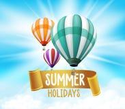 Het realistische Kleurrijke van Hete Luchtballons Vliegen Als achtergrond Royalty-vrije Stock Fotografie