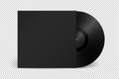 Het realistische lege verslag van LP van de muziekgrammofoon vinyl met dekkingspictogram stock illustratie