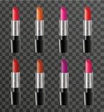 Het realistische malplaatje van het lippenstiftpakket voor uw ontwerp Het modelproduct van de rougebuis op een transparante achte Royalty-vrije Stock Afbeeldingen