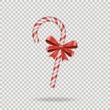 Het realistische Riet van het Kerstmissuikergoed met rode die boog op transparante achtergrond wordt geïsoleerd Gelukkige vakanti royalty-vrije illustratie