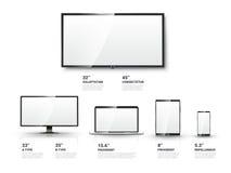 Het realistische TV-scherm, Lcd monitor, laptop, tablet Royalty-vrije Stock Afbeelding
