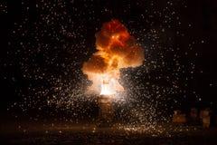 Het realistische vurige explosie busting royalty-vrije stock foto's