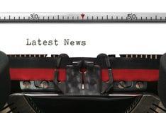 Het Recentste Nieuws van de schrijfmachine Stock Afbeelding