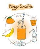 Het recept van de schetsmango smoothie Stock Fotografie