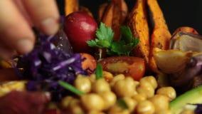 Het recept van de veganistsalade stock videobeelden