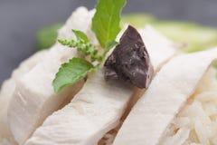 Het Recept van Gai van de Khaomens De Thaise stijl van het straatvoedsel Stock Foto's