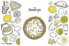 Het recepteningrediënten van de citroenpastei stock illustratie