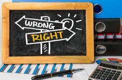 Het recht of verkeerd voorziet hand van wegwijzers trekkend op bord Royalty-vrije Stock Afbeeldingen