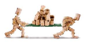 Het recycling van dozen door doosmensen en brancard stock foto's