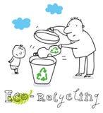 Het recycling van Eco, het trekken Stock Afbeeldingen