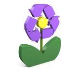 Het recycling van symbool op bloem Stock Foto