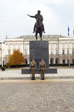 Het redactie presidentiële Paleis van paleiskoniecpolski met leeuw stat stock foto