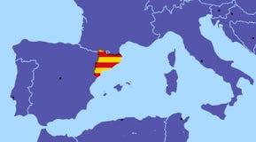 Het referendumonafhankelijkheid Barcelona van kaartspanje Catalonië royalty-vrije stock foto's