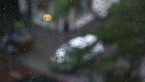 Het regenachtige venster van de Dag stock footage
