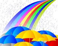 Het regenen op paraplu's vector illustratie