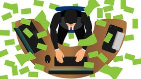 Het regent bankbiljetten het zakenmanwerk royalty-vrije illustratie