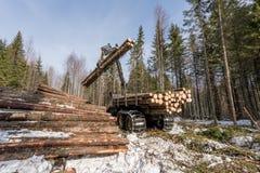 Het registreerapparaat met robotachtige wapenliften opent de winterhout het programma stock afbeeldingen