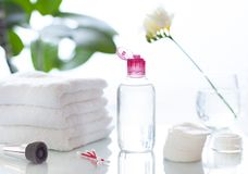 Het reinigende gezicht of maakt omhoog tot vlekkenmiddel kosmetische fles in het badkamersconcept royalty-vrije stock foto