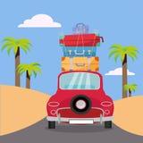 Het reizen door rode auto met stapel bagagezakken op dak dichtbij strand met palmen De zomertoerisme, reis, reis Vlakke beeldverh royalty-vrije illustratie