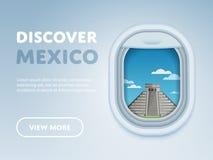 Het reizen door vliegtuig Oriëntatiepunten in het venster Stock Foto's