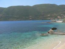 Het reizen en de partij van de de zomerpret Beste stranden in de wereld Lefkada Griekenland stock foto