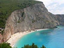 Het reizen en de partij van de de zomerpret Beste stranden in de wereld Lefkada Griekenland stock afbeeldingen